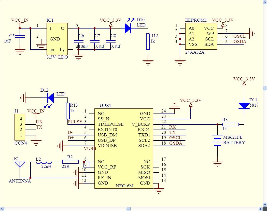Schaltplan GPS Ublox 6M GPS (Circuit / Schematic) - KOPTERFORUM . AT